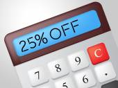 Twenty Five Percent Represents Offer Promo And Calculation — Stock Photo