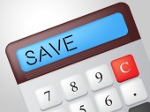 Save Calculator Represents Calculation Financial And Invest — Zdjęcie stockowe