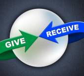 Give Receive Arrows Represents Present Donate And Take — Stock Photo