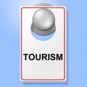 Tourism Sign Shows Go On Leave And Destinations — Stock Photo