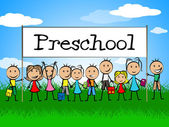 Preschool Kids Banner Represents Day Care And Child — Stock Photo