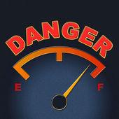 Danger Gauge Indicates Caution Dangerous And Measure — Stock Photo