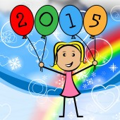 Twenty Fifteen Balloons Represents New Year And Kids — Stock Photo