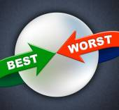 Best Worst Arrows Indicates Number One And Inferior — Stock Photo