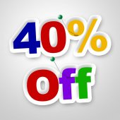 Forty Percent Off Indicates Promotion Retail And Merchandise — Stock Photo
