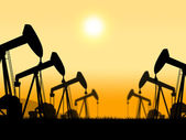 Oil Wells Represents Extract Refineries And Oilfield — Stock Photo