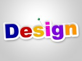 Design Sign Represents Layouts Models And Diagrams — Stock Photo