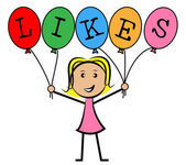 Likes Balloons Indicates Social Media And Kids — Stock Photo
