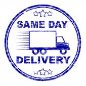 Same Day Delivery Represents Distributing Shipping And Logistics — Stock Photo