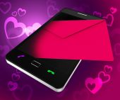 Send Love Phone Shows Devotion Cellphone And Smartphone — 图库照片