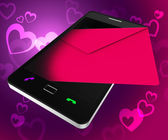 Send Love Phone Shows Devotion Cellphone And Smartphone — Foto Stock