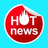 Hot News Sticker Represents Media Player And Best — Stock Photo