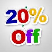 Twenty Percent Off Indicates Reduction Savings And Save — Stock Photo