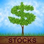 Stocks Tree Indicates Return On Investment And Banking — Stock Photo