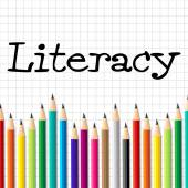 Literacy Pencils Represents Train Proficiency And Develop — Stock Photo
