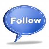 Follow Speech Bubble Indicates Social Media And Likes — Stock Photo