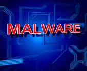 Malware Sign Represents Processor Keyboard And Malicious — Stock Photo