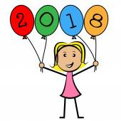 Twenty Eighteen Balloons Represents New Year And Kids — Stock Photo