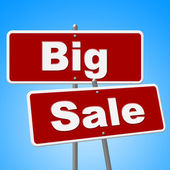 Big Sale Signs Indicates Offer Save And Promotion — Stock Photo