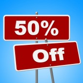 Fifty Percent Off Indicates Sign Closeout And Signboard — Stock Photo