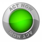 Act Now Button Shows At The Moment And Acting — Stockfoto