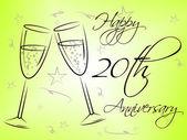 Happy Twentieth Anniversary Represents Annual Greeting And Celebration — Stock Photo