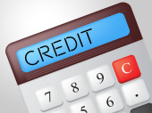 Credit Calculator Shows Debit Card And Calculate — Stock Photo