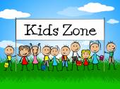 Kids Zone Banner Indicates Playing Playtime And Youngster — Stock Photo