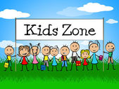 Kids Zone Banner Indicates Playing Playtime And Youngster — Stockfoto