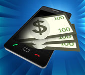Phone Dollars Indicates World Wide Web And Banking — Stock Photo