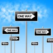 One Way Sign Represents Signage Decisions And Option — Stock Photo