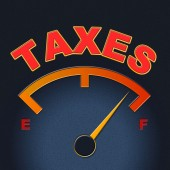 Taxes Gauge Represents Irs Duties And Taxation — Stock Photo