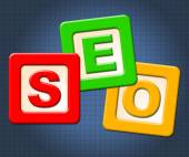 Seo Kids Blocks Shows Optimization Youngsters And Childhood — Stock Photo