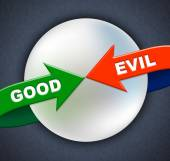 Good Evil Arrows Indicates All Right And Awesome — Stock Photo
