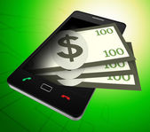 Phone Dollars Represents World Wide Web And American — Stock Photo