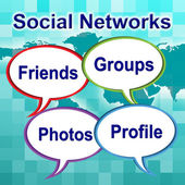 Social Networks Words Means News Feed And Forums — Stock Photo