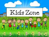 Kids Zone Banner Shows Free Time And Child — Stock Photo