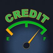 Credit Gauge Represents Debit Card And Bankcard — Stock Photo
