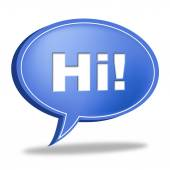 Hi Speech Bubble Represents How Are You And Chat — Stock Photo