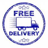 Free Delivery Stamp Represents With Our Compliments And Complimentary — Stock Photo