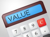Value Calculator Represents Figures Profit And Valuable — Stock Photo