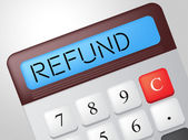 Refund Calculator Means Reimbursement Refunding And Return — Stock Photo