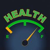 Health Gauge Indicates Preventive Medicine And Care — Stock Photo