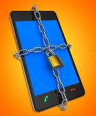 Smartphone Locked Shows Web Protect And Unauthorized — Stock Photo