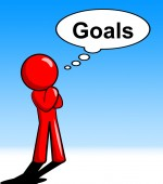 Thinking Goals Character Shows Aspiration Targets And Mission — Stockfoto