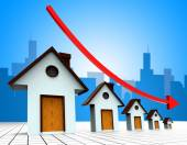 House Prices Down Represents Reduce Regresses And Household — Stock Photo