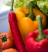 Red Yellow Peppers Indicates Bellpepper Bell And Bell-Pepper — Stock Photo