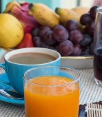 Coffee Orange Breakfast Means Sweet Cafeteria And Cafe — Stock Photo