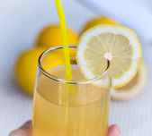 Lemonade Glass Indicates Beverage Refreshing And Tropical — Stock Photo