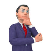 Businessman Thinking Indicates Confused Contemplating And Idea — Stock Photo